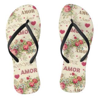 Romantic thongs vintage, word love, roses