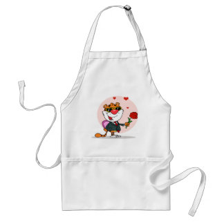 Romantic Tiger with Flower and Gift Aprons