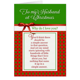 Romantic - To my Husband at Christmas Greeting Card