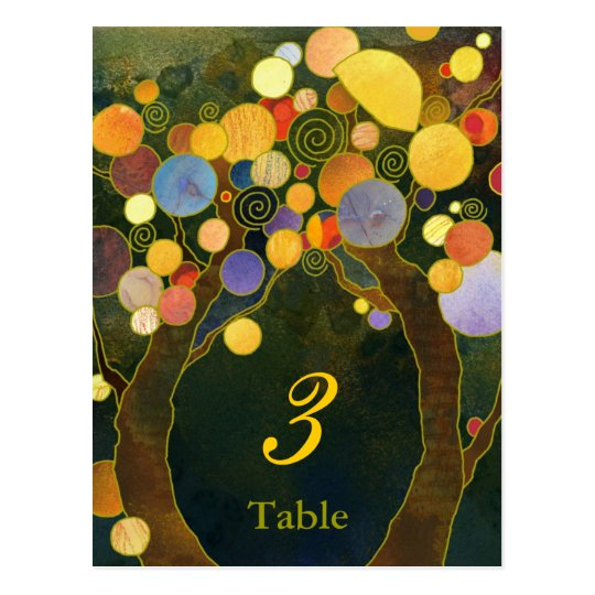 Romantic Tree Theme Wedding Table Numbers Postcard