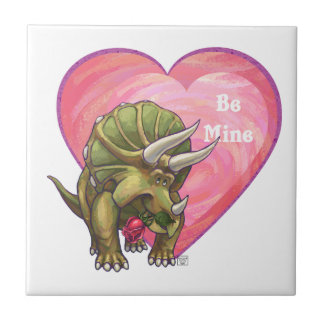 Romantic Triceratops Be Mine Small Square Tile