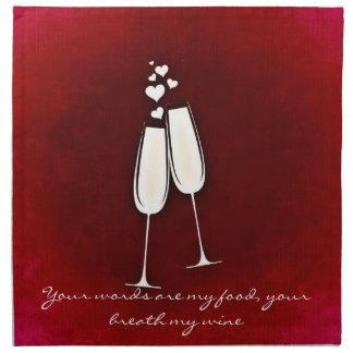 Romantic Twin Wine Glasses Valentine Cloth Napkins
