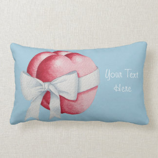 Romantic two red love hearts and white bow throw cushion