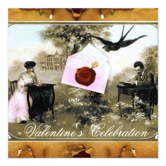 ROMANTIC VALENTINE LETTER ,RED WAX SEAL MONOGRAM 13 CM X 13 CM SQUARE INVITATION CARD