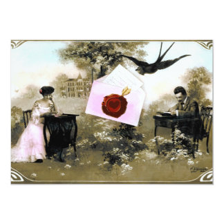 ROMANTIC VALENTINE LETTER ,RED WAX SEAL MONOGRAM 13 CM X 18 CM INVITATION CARD