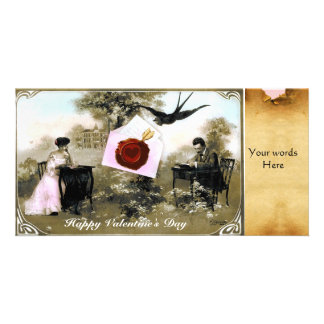 ROMANTIC VALENTINE LETTER ,RED WAX SEAL PARCHMENT CUSTOMIZED PHOTO CARD