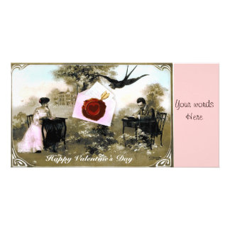 ROMANTIC VALENTINE LETTER ,RED WAX SEAL PERSONALIZED PHOTO CARD