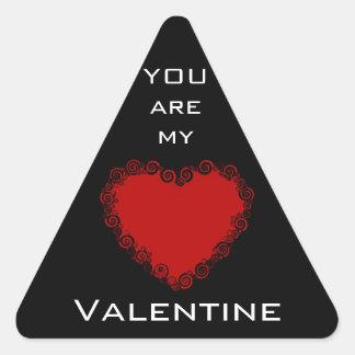 Romantic Valentine Love Heart Red Triangle Sticker