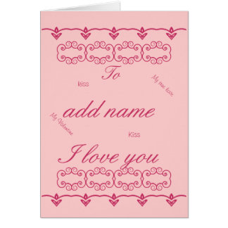 Romantic Valentine's Day Card Add name front