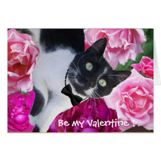 ROMANTIC VALENTINE'S DAY CAT WITH PINK ROSES GREETING CARD