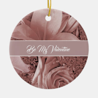 Romantic Valentines Day Dusty Rose and Lily Christmas Ornament