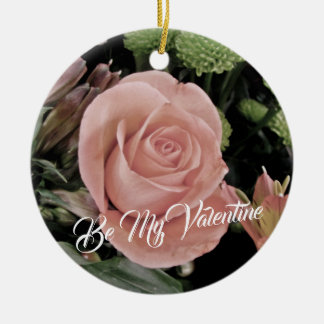 Romantic Valentines Day Light Pink Rose Christmas Ornament