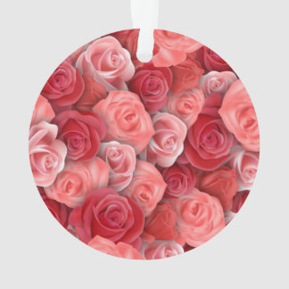Romantic Valentines day pink and red roses Ornament