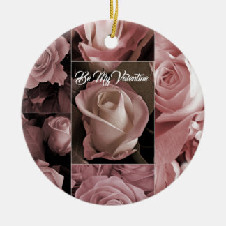 Romantic Valentines Day Pink Roses Christmas Ornament