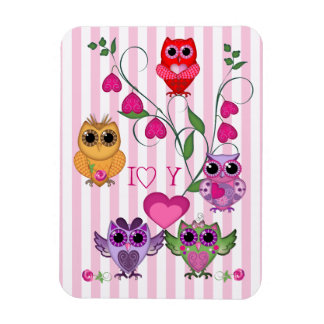 Romantic Valentines owls & hearts Rectangular Photo Magnet