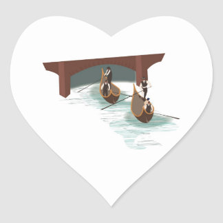 Romantic Venice Gondolas Wedding Hearts Heart Sticker