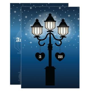 Romantic Victorian Lamp Post With Initials Wedding 13 Cm X 18 Cm Invitation Card