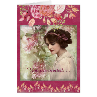 Romantic Victorian Woman Pink Floral Greeting Card