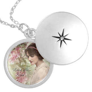 Romantic Victorian Woman Pink Floral Locket