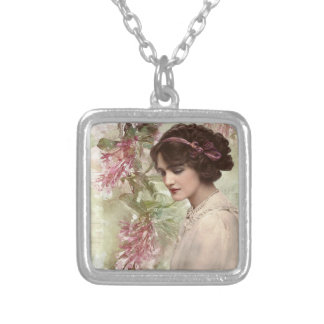 Romantic Victorian Woman Pink Floral Necklace