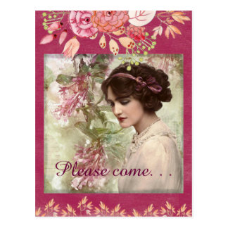 Romantic Victorian Woman Pink Floral Postcard