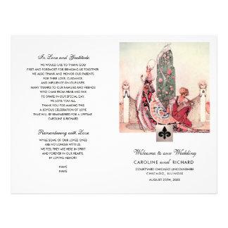 Romantic Vintage Art  Folded Wedding Program Flyer
