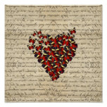 Romantic Vintage butterfies Poster