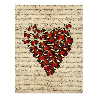 Romantic Vintage butterfly heart Postcard