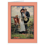 Romantic vintage couple and horse painting greeting card
