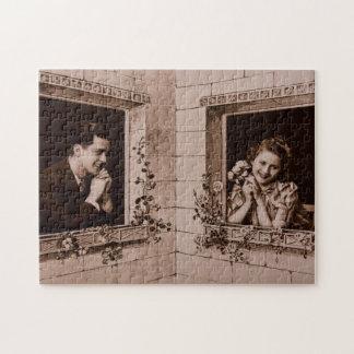 Romantic Vintage Couple, Sepia Photograph Jigsaw Puzzles