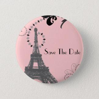 Romantic Vintage eiffel tower Paris Wedding 6 Cm Round Badge