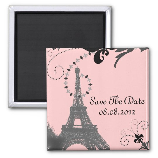 Romantic Vintage eiffel tower Paris Wedding Magnet