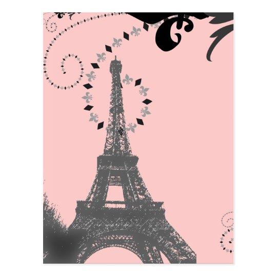Romantic Vintage eiffel tower Paris Wedding Postcard