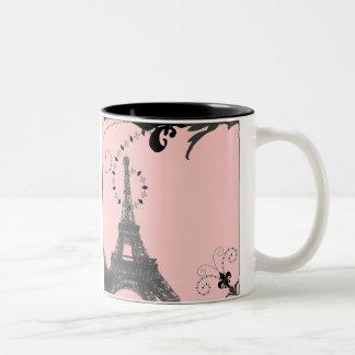 Romantic Vintage eiffel tower Paris Wedding Two-Tone Mug
