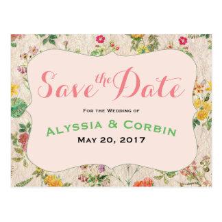 Romantic Vintage Floral Pink Elegant Wedding Postcard