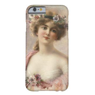 Romantic vintage girl illustration, iPhone Case