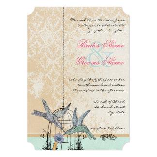 Romantic Vintage Hummingbird Birdcage Wedding Invites