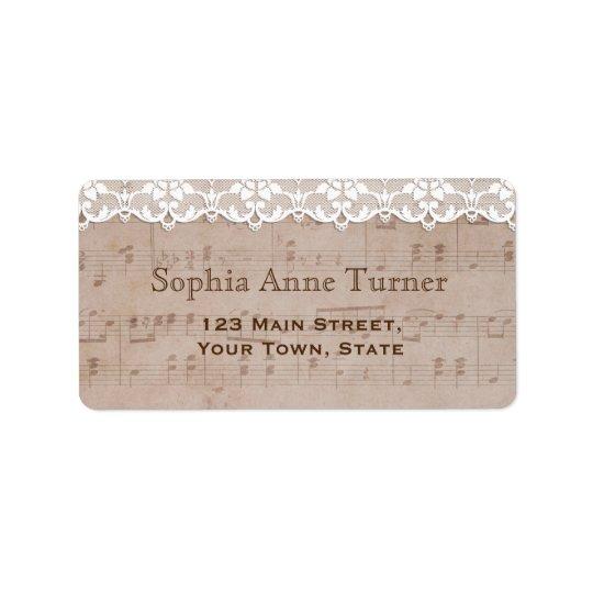 Romantic Vintage Music Sheet & Lace Wedding Address Label