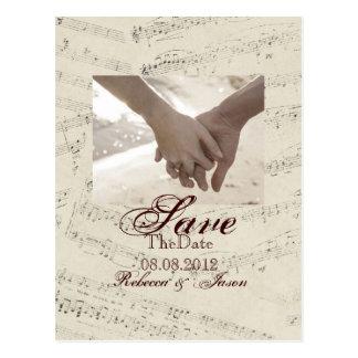 romantic Vintage musicnotes modern saveTheDate Postcard