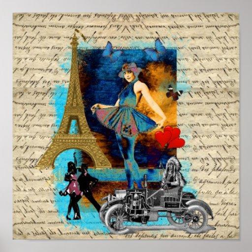 Romantic vintage Paris collage Poster