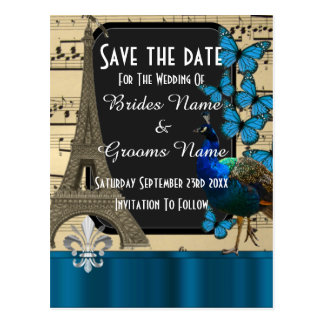 Romantic vintage Paris save the date Postcard