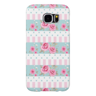 Romantic Vintage Pink & Mint Floral Roses Pattern Samsung Galaxy S6 Cases