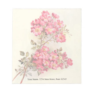Romantic Vintage Pink Roses Notepad