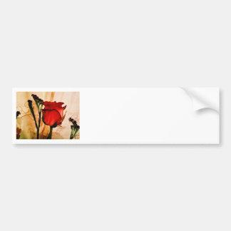 Romantic Vintage Red Rose Car Bumper Sticker