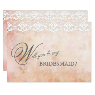 Romantic Vintage Rose Lace BE MY BRIDESMAID Card