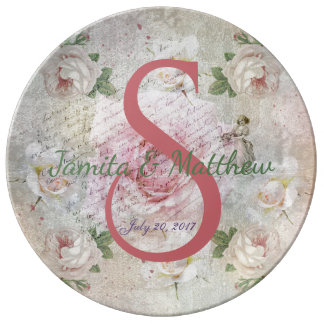Romantic vintage roses and text wedding porcelain plate