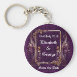 Romantic Vintage Save the Date Basic Round Button Key Ring