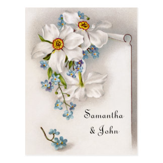 Romantic Vintage Save the Date Postcard