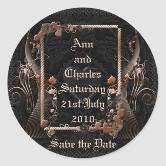 Romantic Vintage Save the Date Round Sticker