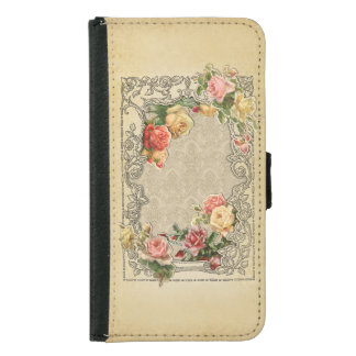 Romantic Vintage Sculpted Roses Samsung Galaxy S5 Wallet Case